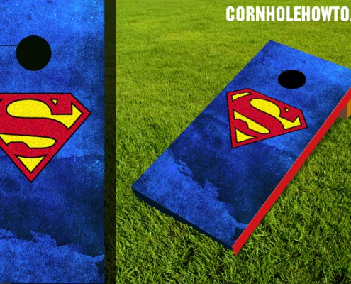 Superman cornhole board